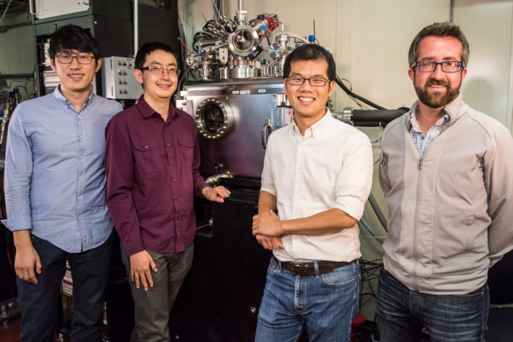Photo: Jongwoo Lim, Yiyang Li, William Chueh and David Shapiro at the SLAC Advanced Light Source. Credit: Paul Mueller/Berkeley Lab