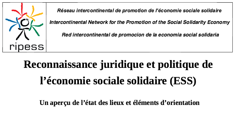 Reconnaissance juridique et politique de l'économie sociale solidaire