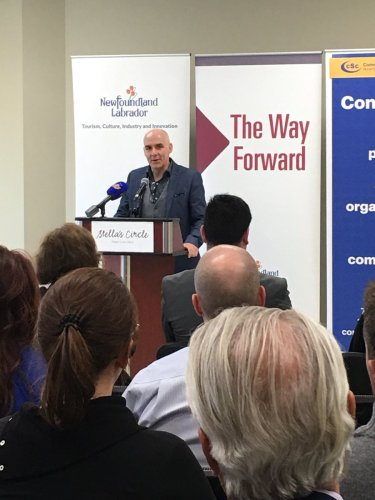 Sheldon Pollett addresses the room at the release of the Newfoundland and Labrador Social Enterprise Action Plan
