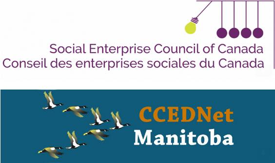 Social Enterprise Council of Canada logo and CCEDNet-Manitoba logo