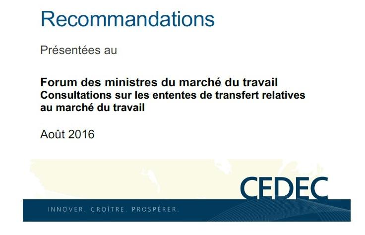 Recommandations présentées au Forum des ministres du marché du travail