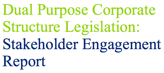 Dual Purpose Corporate Structure Legislation