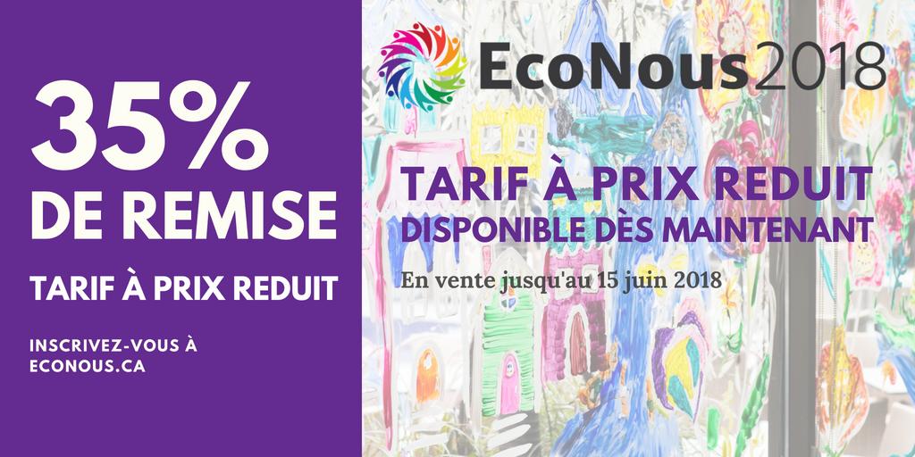 35% de remise - tarif à prix reduit disponible pour EcoNous2018