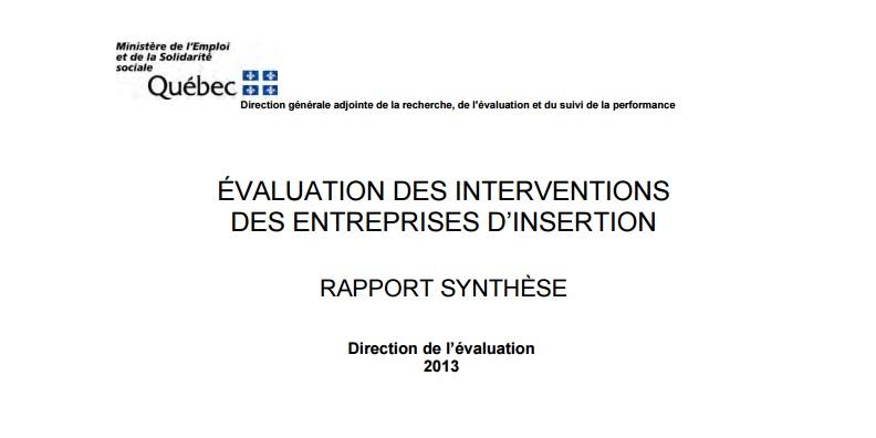 Évaluation des interventions des entreprises d'insertion - Rapport synthèse