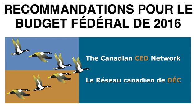 Recommandations pour le budget fédéral de 2016