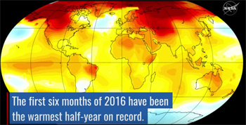 The first six months of 2016 have been the warmest half-century on record.