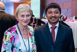 Gillian Webb and Nishchal Shakya at the 2015 WCPT General Meeting in Singapore
