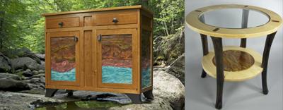 Copper panel cabinet, copper shelf table