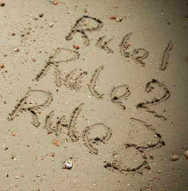 Rules 1-3 written in the sand