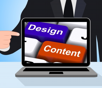 A stylised laptop showing the concepts of design and content for a website.