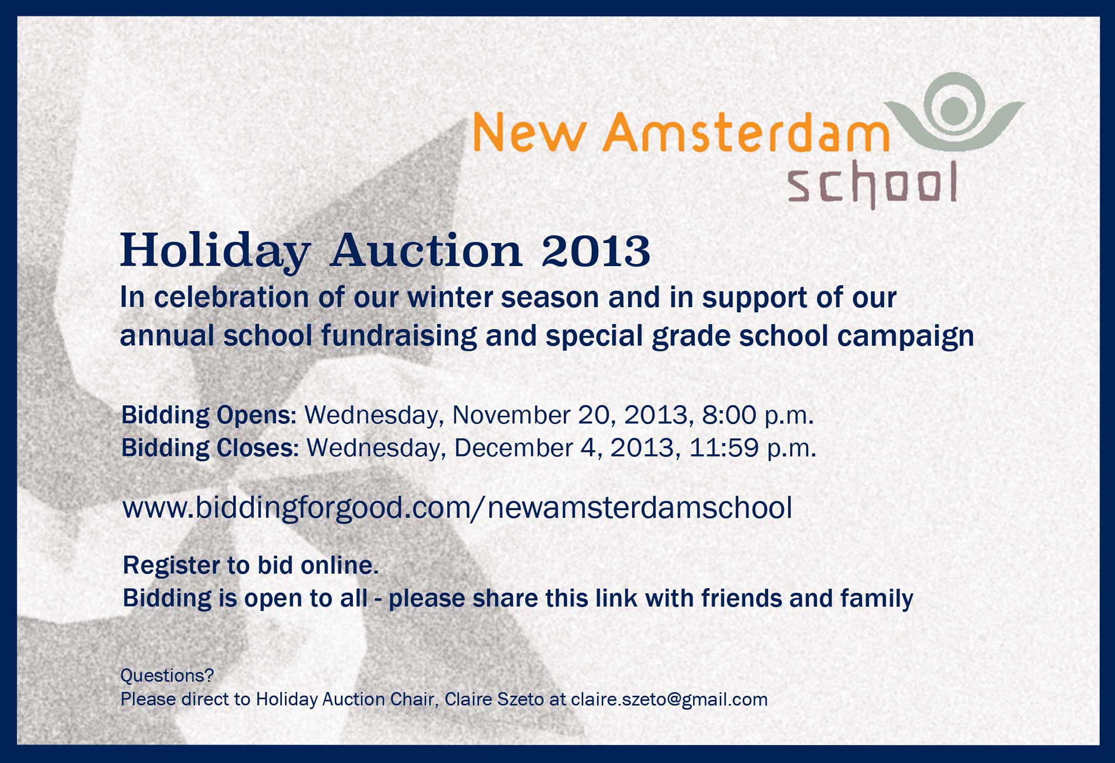 Bidding Extended to 11:59 PM on Sunday 12/8!  www.biddingforgood.com/newamsterdamschool