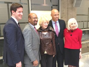 ASAP executive director Justin Ennis, far left, and president Marciene Mattleman, far right, pose with Mayor Nutter, philanthropist Vivian Lasko, and Philadelphia schools superintendent William Hite. Credit: Mike DeNardo