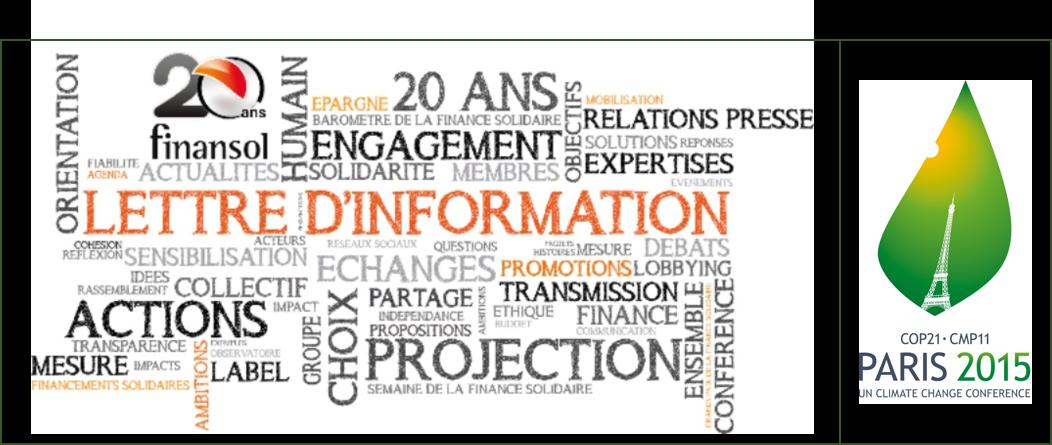 Lettre d'information Finansol - spéciale COP21