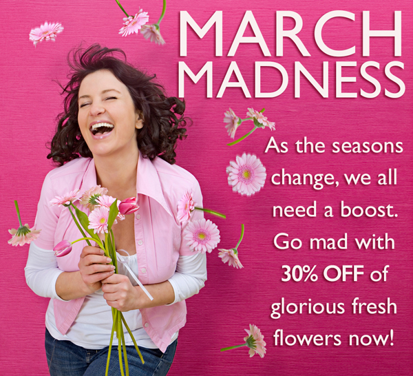 Save 30% off March madness at ReadyFlowers.com.au