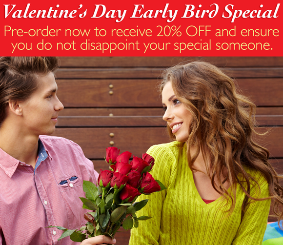 Save 20% off  valentine's day early bird special at ReadyFlowers.com.au