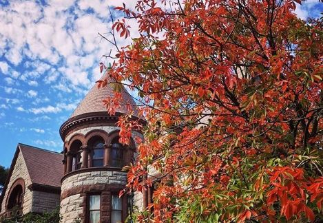 Blue sky over Brown University campus with tree changing colors
