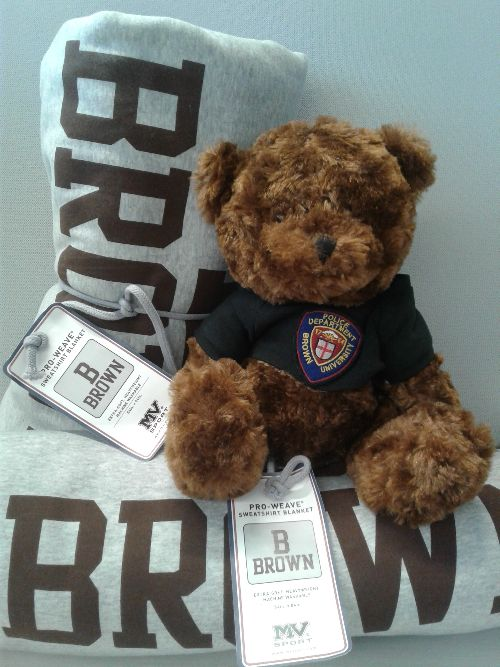 Teddy bear wearing Brown DPS patch on shirt sitting on top of blankets