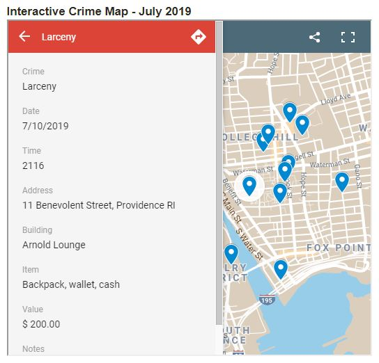 Google map with blue markers on locations where crimes have occurred on Brown University campus