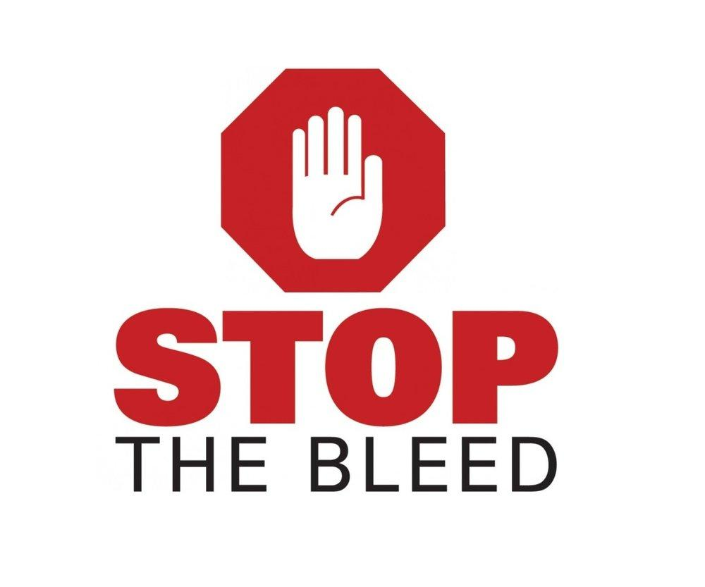 Red and white logo of hand and stop sign - caption: stop the bleed