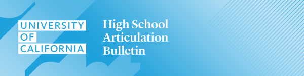 High School Articulation Bulletin