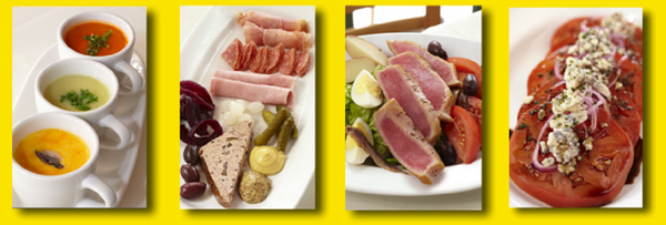 Pomme Frite's Trio of Cold Soups, Paté and Charcuterie Platter, Nicoise Salad with Seared Ahi Tuna, Beefsteak Tomato Salad with Danish Bleu Cheese