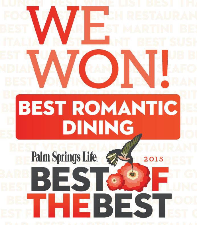 Thank YOU for Voting for us as Best Romantic Restaurant!