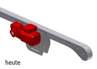 Kettenförderer mit Mittenantrieb für rücklaufende Kette