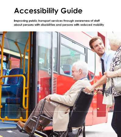 Cover of Accessibility Guide showing an older man in wheelchair receiving assistance to enter a bus