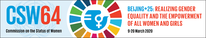 Banner CSW 64 Beijing+25 Realizing gender equality and the empowerment of all women and girls