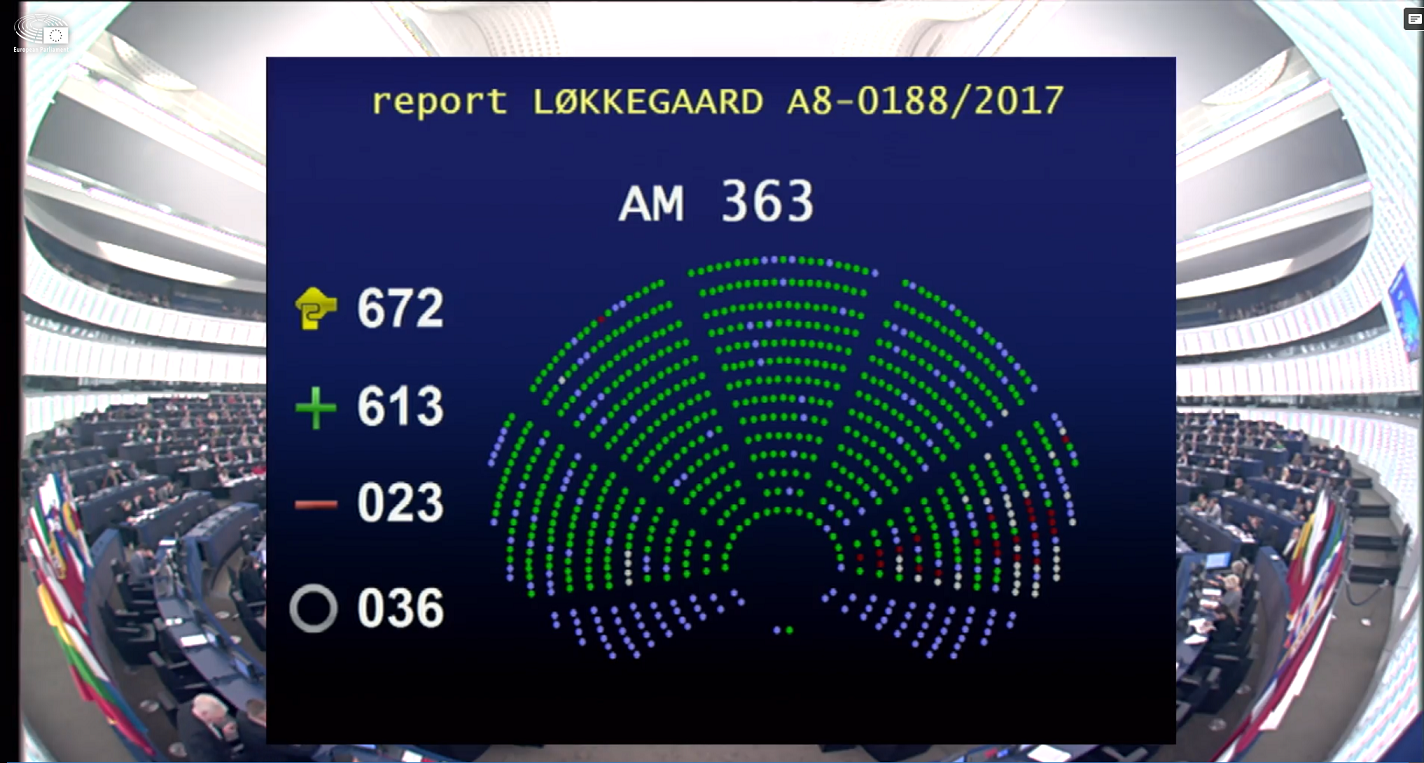 Vote for the European Accessibility Act in the European Parliament: 613 votes in favour: 23 votes against and 36 abstentions.