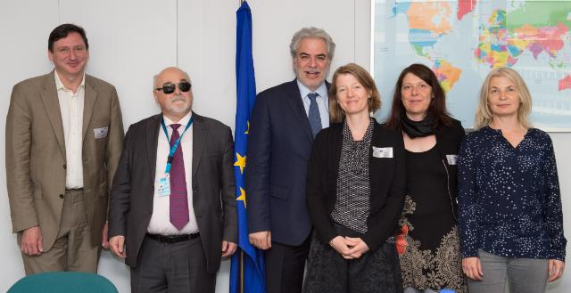Representatives from IDDC and EDF with Commissioner Stylianides