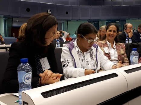 Member of women's committee asking a question at the EDPD