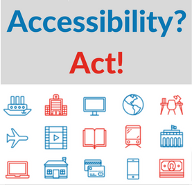 Picture with symbols of various products and services such as phones, computers, transport etc saying 'Accessibility? Act'