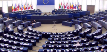 General view of the meeting room of the Plenary in Strasbourg