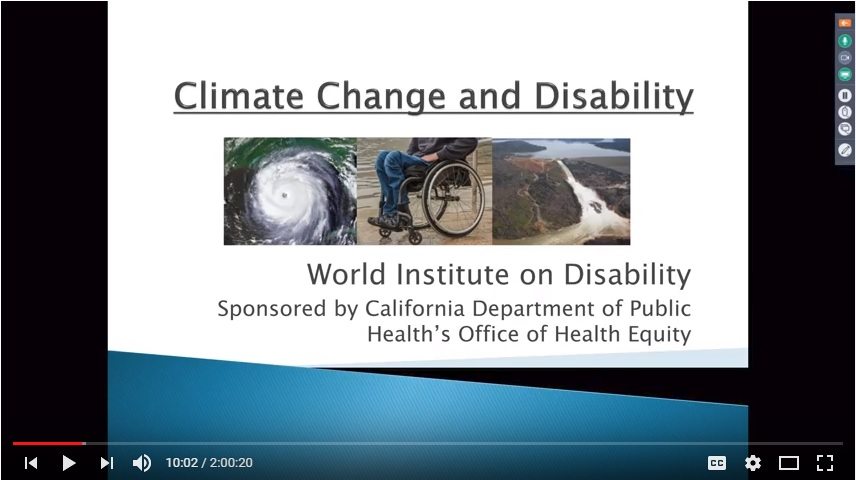 """A screenshot of a YouTube recording of the """"climate change and disability"""" webinar's introduction slide"""