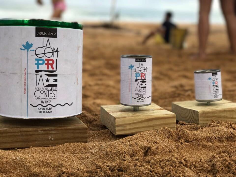 "Canned food ""trophies"" for the surfing contest."