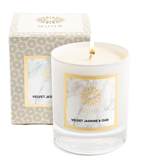 Velvet Jasmine and Oud Classic white candle and box