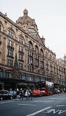 Harrods shop building at Christmas time