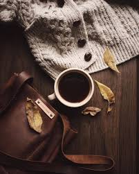 Wool Cardigan, Hot drink, Handbag and Autumn Leaves
