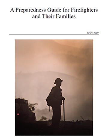 Cover of guide showing firefighter silhouetted against a background of smoke