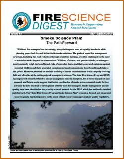 JFSP FIre Science Digest smoke science plan