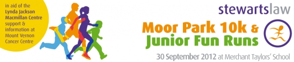 Stewarts Law Moor Park 10k & Junior Fun Runs - raising money for the Lynda Jackson Macmillan Centre - support & information at the Mount Vernon Cancer Centre