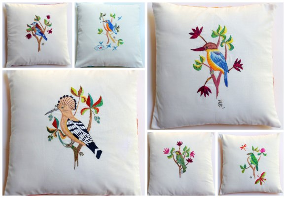 Surya's birds embroidered on cushions
