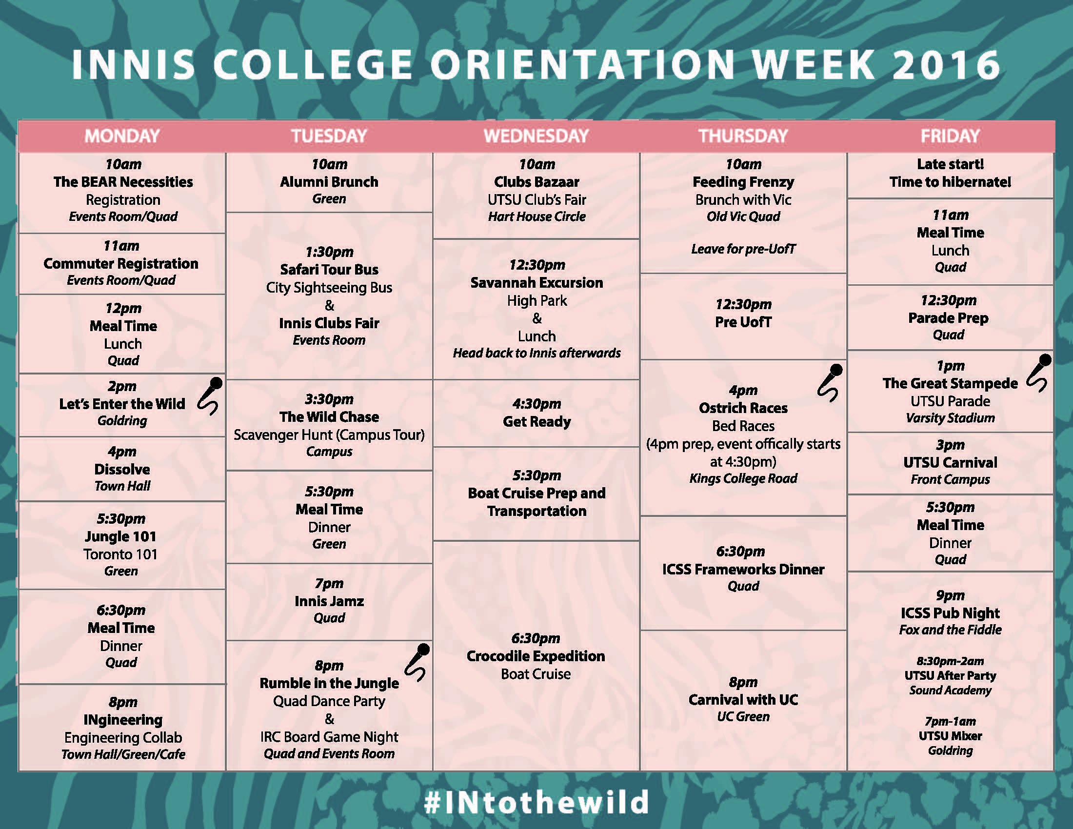 Innis Orientation Schedule