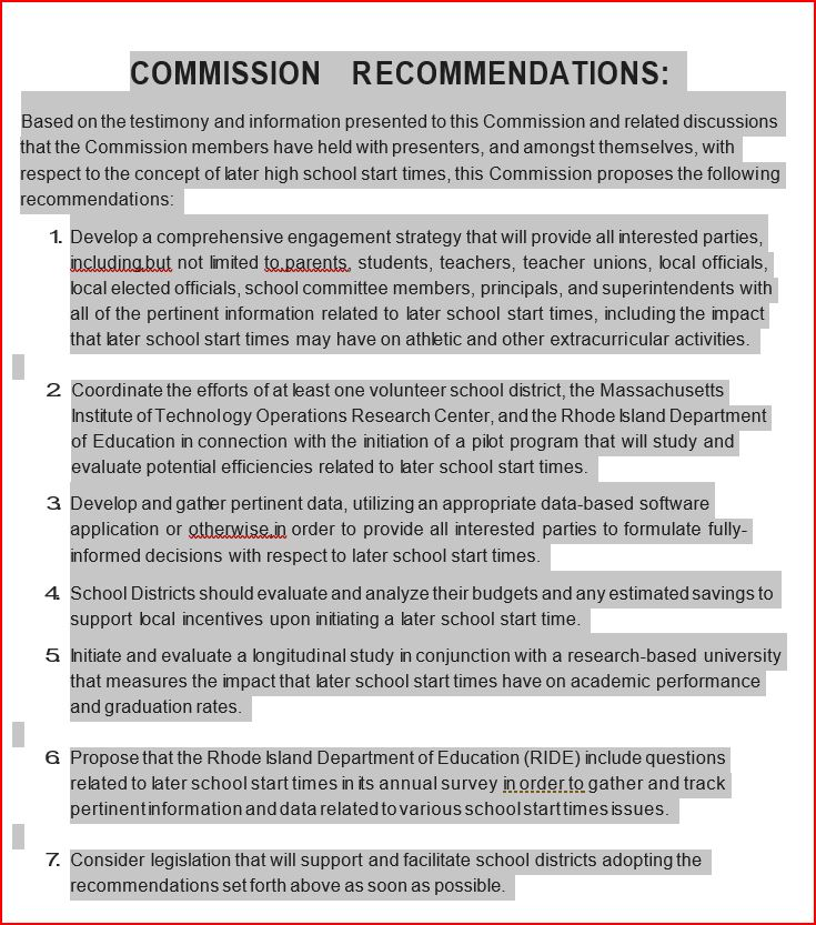 New Rhode Island Commission Report on Later School Start Times