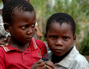 Two African boys threatened by malaria