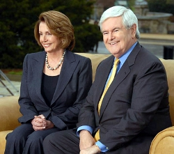 Newt Gingrich on couch with Nancy Pelosi
