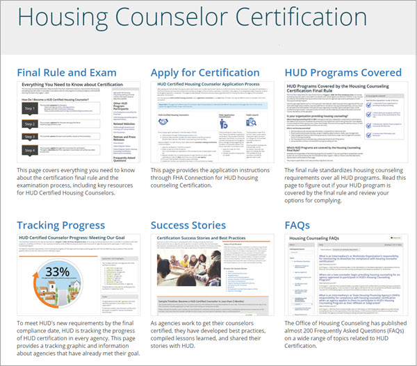 Housing Counseling Certification page highlighting Final Rule and Exam, FHAC Application, HUD Programs Covered, Tracking Progress, Success Stories, and FAQs
