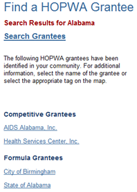 Find a HOPWA Grantee Search Results