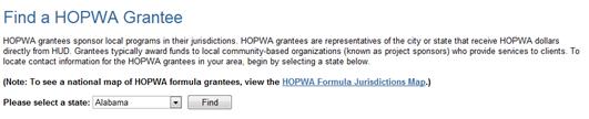 Find a HOPWA Grantee